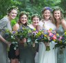 bright bridal party